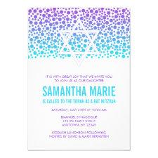 Confetti Dots Purple Teal Bat Mitzvah Invitation