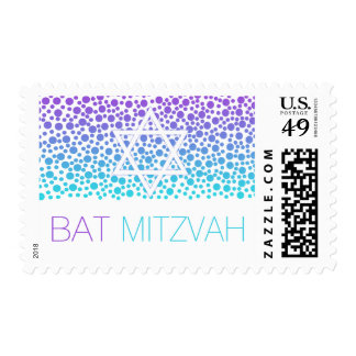 Confetti Dots Purple Teal Bat Mitzvah Postage