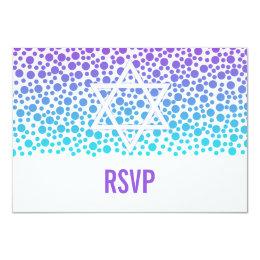 Confetti Dots Purple Teal Bat Mitzvah RSVP Card
