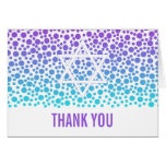 Confetti Dots Purple Teal Bat Mitzvah Thank You Card