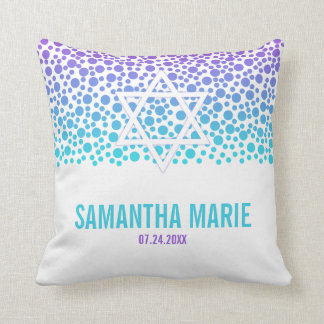 Confetti Dots Purple Teal Bat Mitzvah Throw Pillow