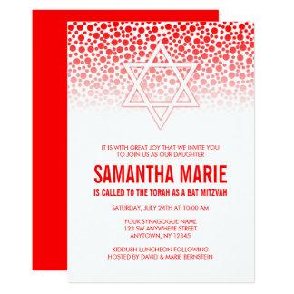 Confetti Dots Red Bat Mitzvah Invitations