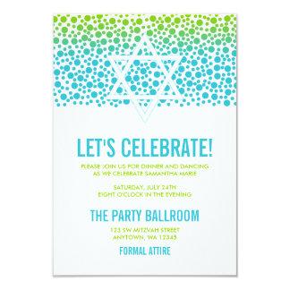 Confetti Dots Teal Green Bat Mitzvah Reception Card