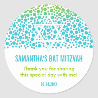 Confetti Dots Teal Lime Green Bat Mitzvah Favor Classic Round Sticker