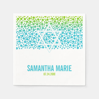 Confetti Dots Teal Lime Green Bat Mitzvah Paper Napkin