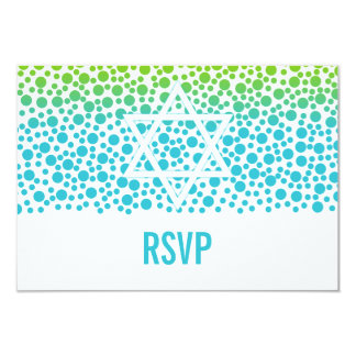 Confetti Dots Teal Lime Green Bat Mitzvah RSVP Card