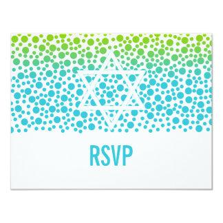 Confetti Dots Teal Lime Green Bat Mitzvah RSVP Card
