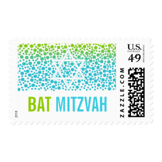 Confetti Dots Teal Lime Green Bat Mitzvah Stamp