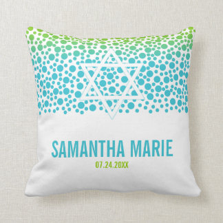 Confetti Dots Teal Lime Green Bat Mitzvah Throw Pillow