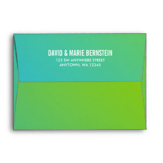 Confetti Dots Teal Lime Green Return Address Envelope