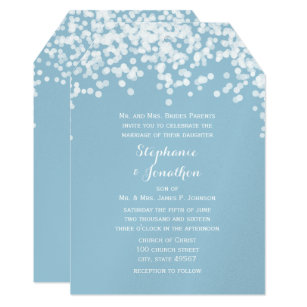 Confetti Dusty Powder Blue Wedding Invitations