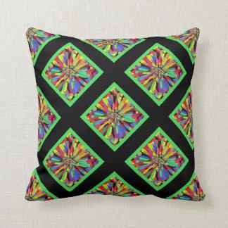 Confetti Flower in black & lime green plaid Throw Pillow