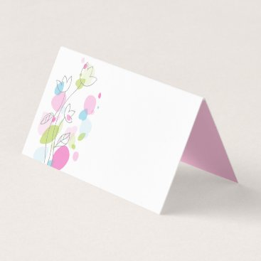 Art Themed Confetti flower pink blue green place cards