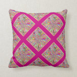 Confetti Flower Summer in Pink & Yellow Plaid Throw Pillows