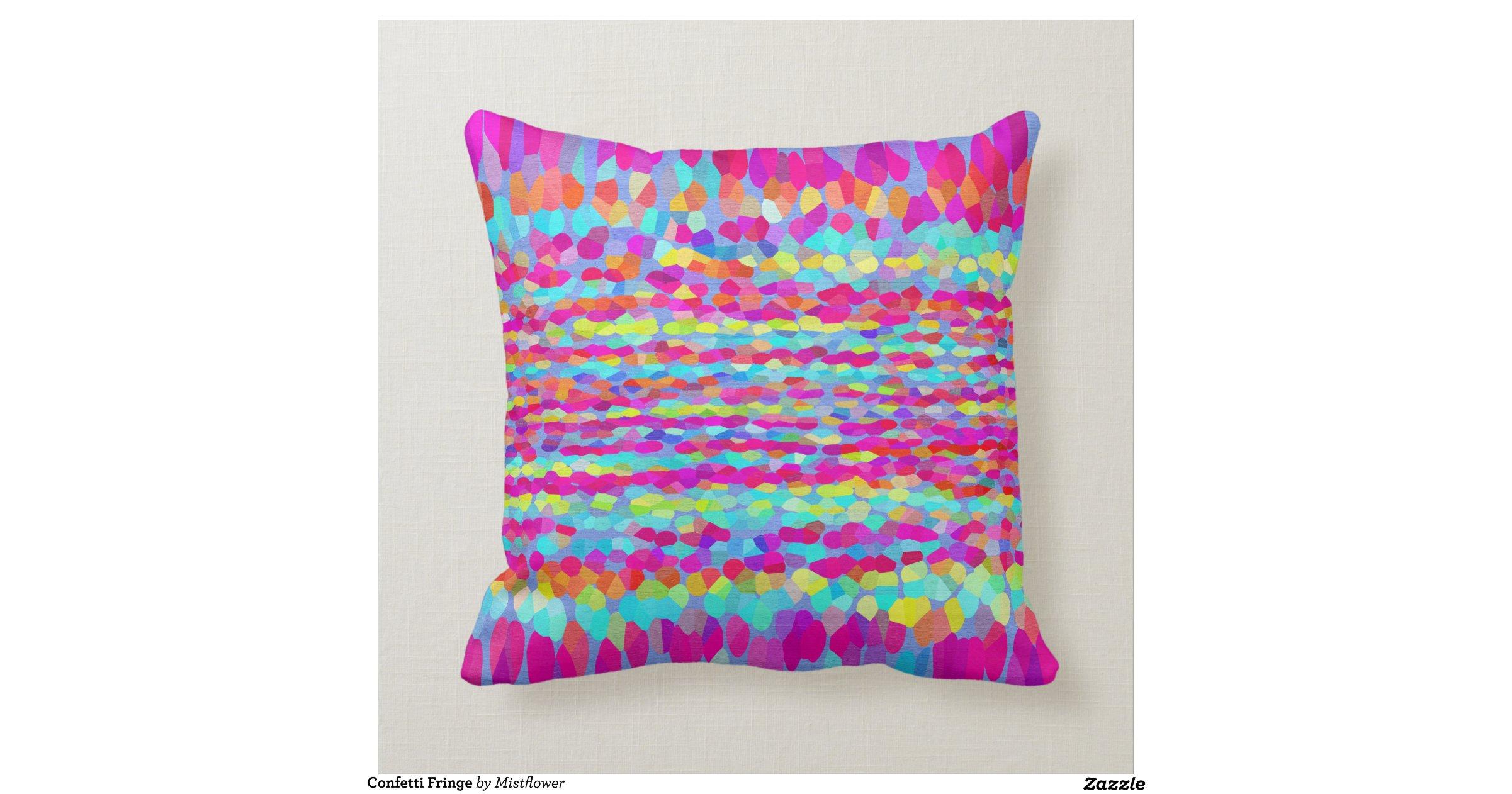 Throw Pillows With Fringe : Confetti Fringe Throw Pillows Zazzle