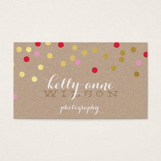 CONFETTI GLAMOROUS cute gold bold red pink kraft Business Card
