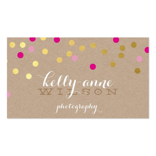 CONFETTI GLAMOROUS cute gold foil bold pink kraft Business Cards