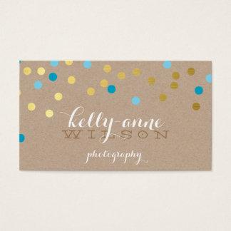 CONFETTI GLAMOROUS cute gold turquoise blue kraft Business Card