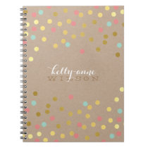 CONFETTI GLAMOROUS cute spot gold coral mint kraft Notebook