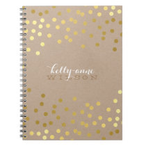 CONFETTI GLAMOROUS cute spot gold crafty kraft Notebook