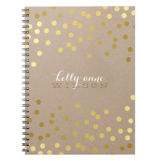 CONFETTI GLAMOROUS cute spot gold crafty kraft Notebook