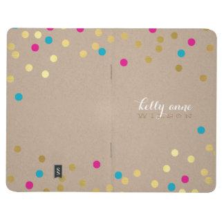 CONFETTI GLAMOROUS cute spot gold kraft pink aqua Journal