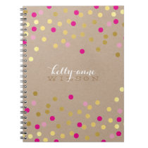 CONFETTI GLAMOROUS cute spot gold pink kraft Notebook