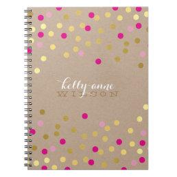 CONFETTI GLAMOROUS cute spot gold pink kraft Notebook