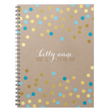 CONFETTI GLAMOROUS cute spot gold turquoise kraft Notebook