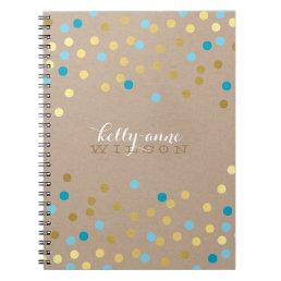 CONFETTI GLAMOROUS cute spot gold turquoise kraft Notebook