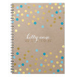 CONFETTI GLAMOROUS cute spot gold turquoise kraft Spiral Note Book