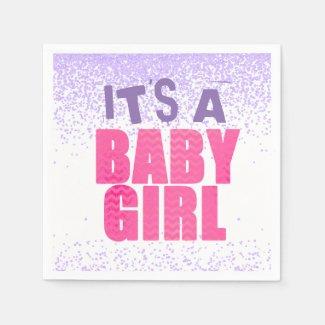 Confetti Glitter Baby Shower Girl Paper Napkins