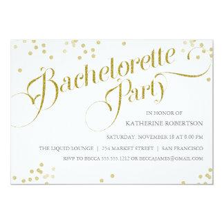 """Confetti Glitter Bachelorette Party Invite, gold 5"""" X 7"""" Invitation Card"""