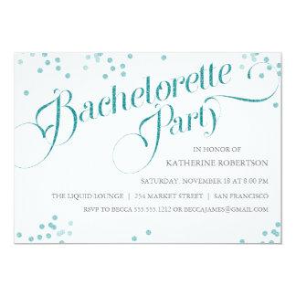 Confetti Glitter Bachelorette Party Invite, teal Card