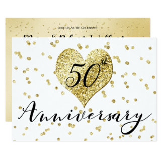 Confetti Gold -50th Wedding Anniversary Invitation