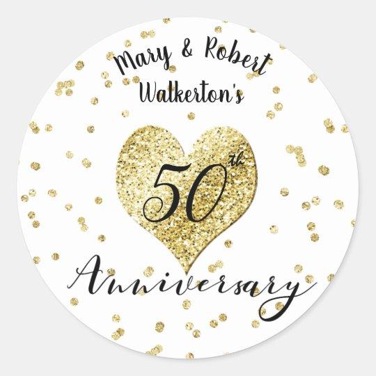 Confetti Gold  50th Wedding Anniversary Sticker