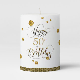 Confetti Gold Birthday ID174 Pillar Candle