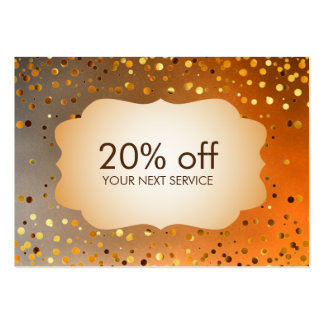 Confetti Gold Coupon Card Voucher Discount Gift Large Business Cards (Pack Of 100)