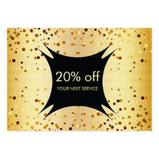 Confetti Gold Coupon Discount Gift Certificate Large Business Cards (Pack Of 100)