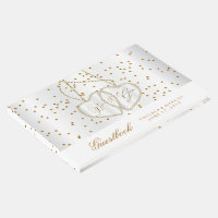 Confetti Gold Dots and Diamond Hearts Guestbook