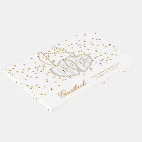 Confetti Gold Dots and Hearts on White - Guestbook