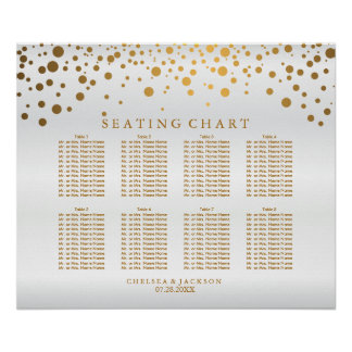 Confetti Gold Dots and White Satin - Seating Chart
