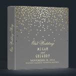 "Confetti Gold Dots Elegant Grey Wedding 3 Ring Binder<br><div class=""desc"">Grey and gold confetti dots wedding binder</div>"