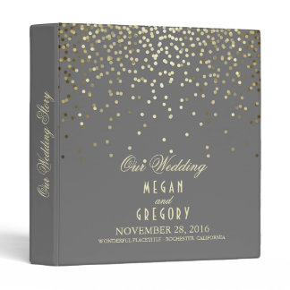 Confetti Gold Dots Elegant Grey Wedding 3 Ring Binder