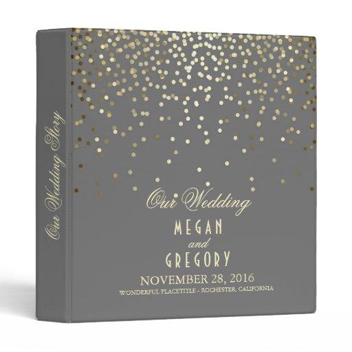 Confetti Gold Dots Elegant Grey Wedding 3 Ring Binder