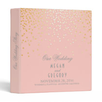 Confetti Gold Dots Elegant Pink Wedding Binder