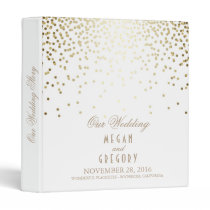 Confetti Gold Dots Elegant White Wedding Binder