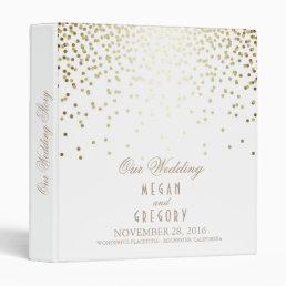 Confetti Gold Dots Elegant White Wedding Binder