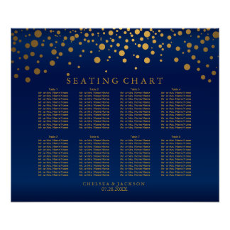 Confetti Gold Dots & Navy Blue Satin Seating Chart
