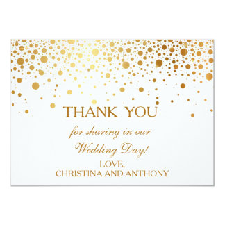 Confetti Gold Foil Wedding Thank You Note Card